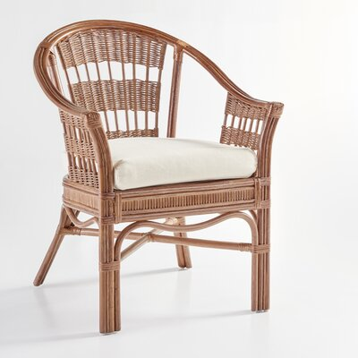 Bermuda Arm Chair Finish: Pecan, Upholstery: Jasmine Antique Stripe