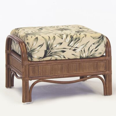 Bermuda Ottoman Color: Pecan, Upholstery: Green/Grey Striped
