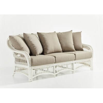 Plantation Sofa with Cushion Fabric: Aquamarine, Finish: Whitewash