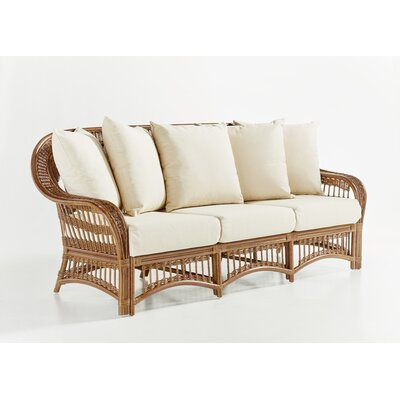 Plantation Sofa with Cushion Finish: Pecan, Fabric: Cornsilk