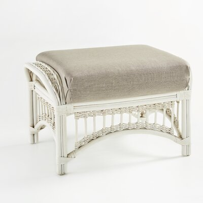 Plantation Ottoman with Cushion Fabric: Aquamarine, Finish: Whitewash