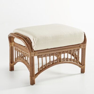 Plantation Ottoman with Cushion Finish: Pecan, Fabric: Aquamarine