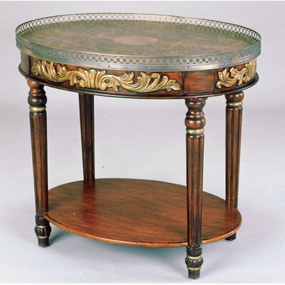 Hand-Painted Oval Coffee Table with Tray Top