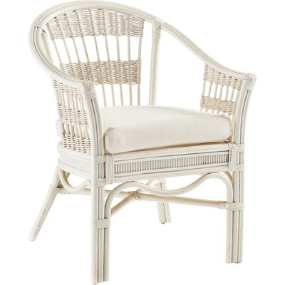 Bermuda Arm Chair Finish: Whitewash, Upholstery: Meeks Lime