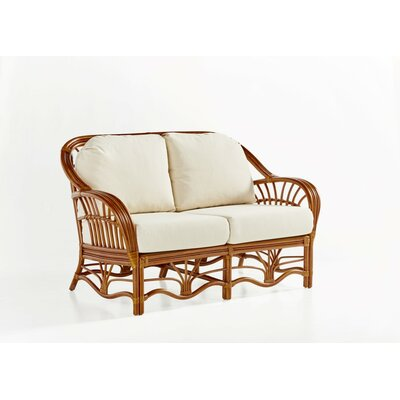Palm Harbor Loveseat Upholstery: Dening Greige Natural, Finish: Walnut