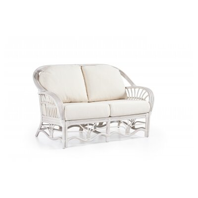 Palm Harbor Loveseat Upholstery: Success Fennel, Finish: White