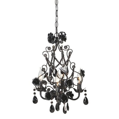 Rose Beaded 4-Light Crystal Chandelier