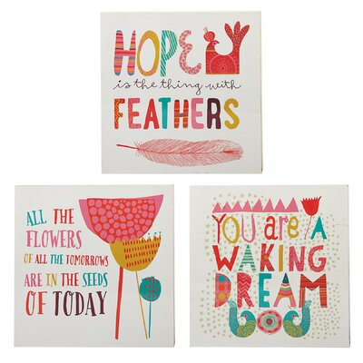 Small Inspiration Graphic Art Plaque (Set of 3)