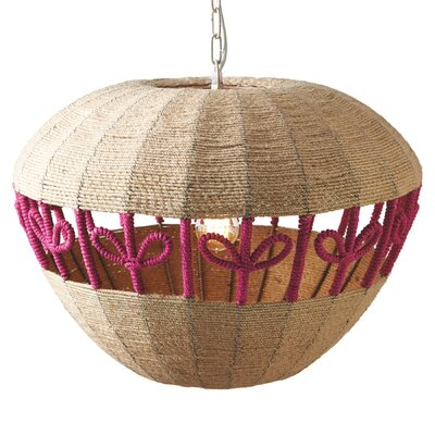 Woven Jute Apple Drum Pendant