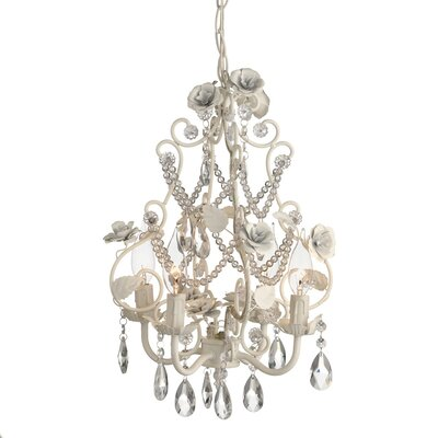 Rose Beading 4-Light Crystal Chandelier