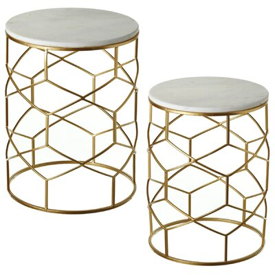 Boncelles Marble 2 Piece Nesting Table