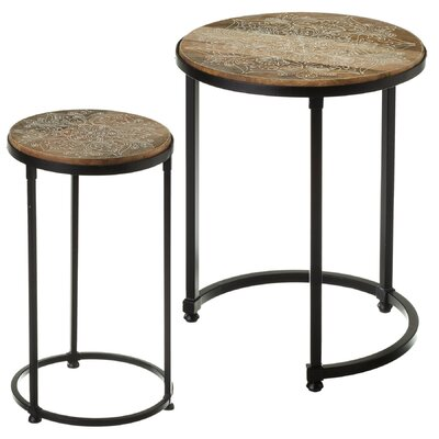 Duval Handpainted Floral 2 Piece Nesting Table