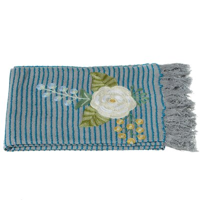 Cohutta Striped Embroidered Floral Throw