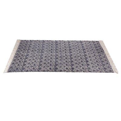 Zoila Cotton Beige/Indigo Area Rug Rug Size: 5 x 8