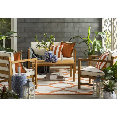 Maritza Geometric Beige/Orange Indoor/Outdoor Area Rug Rug Size: Rectangle 8 x 10