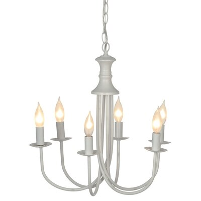 6-Light Candle-Style Chandelier Finish: White