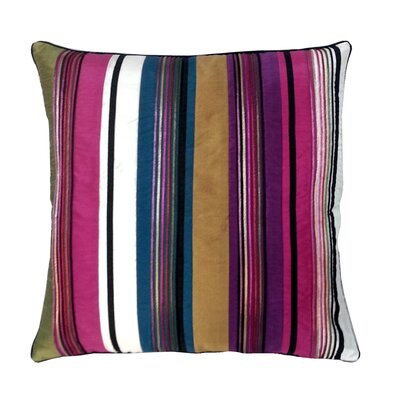 Stripe with Cord Throw Pillow Color: Bright