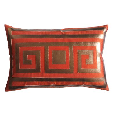 Greek Key Lumbar Pillow Color: Copper