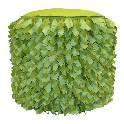 Dimensional Strips Pouf Ottoman Upholstery: Leaf/Lime