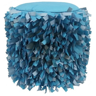 Dimensional Strips Pouf Ottoman Upholstery: Capri/Aqua
