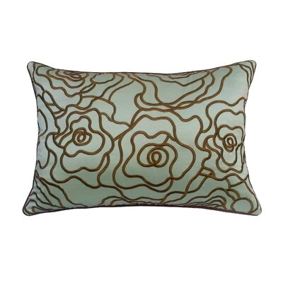 Floral Embroidery Lumbar Pillow Color: Fresh/Mink