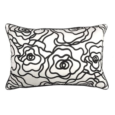 Floral Embroidery Lumbar Pillow Color: White/Black