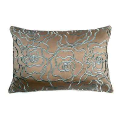 Floral Embroidery Lumbar Pillow Color: Taupe/Mineral