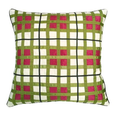 Belgravia Plaid Throw Pillow Color: White / Fuchsia / Lime