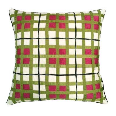 Belgravia Plaid Throw Pillow Color: White / Fuchsia / Lime