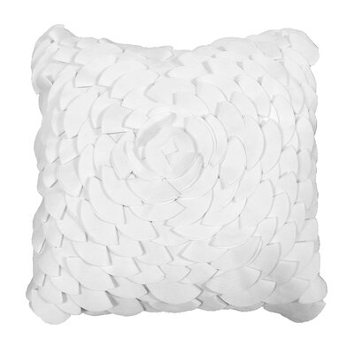 Dimensional Peony Indoor/Outdoor Throw Pillow Color: White