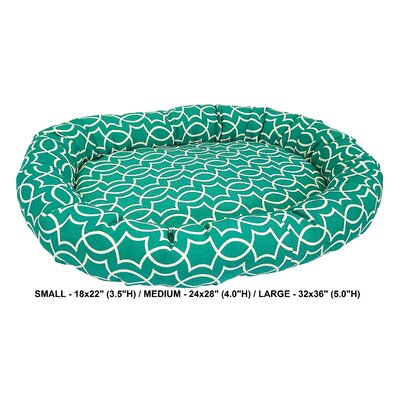 Titan Indoor/Outdoor Bolster Dog Bed Color: Peacock, Size: Small (24 L x 28 W)