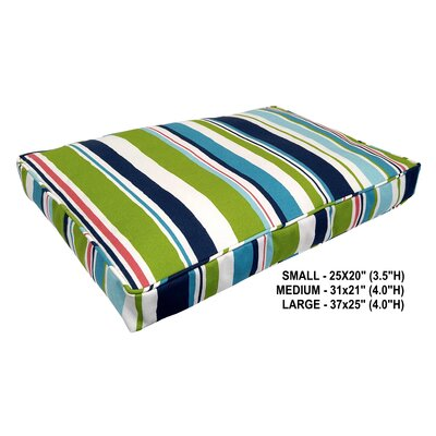 Nadia Stripe Indoor/Outdoor Dog Bed Color: Turquoise, Size: Small (31 L x 21 W)