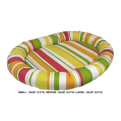 Nadia Stripe Indoor/Outdoorl Bolster Dog Bed Color: Poppy, Size: Small (24 L x 28 W)
