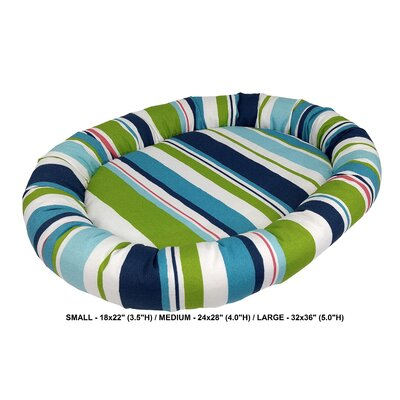 Nadia Stripe Indoor/Outdoorl Bolster Dog Bed Color: Turquoise, Size: Small (24 L x 28 W)