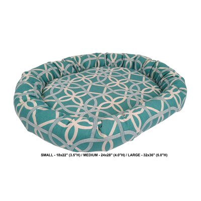Chelsea Indoor/Outdoor Bolster Pet Bed Size: Medium, Color: Pool