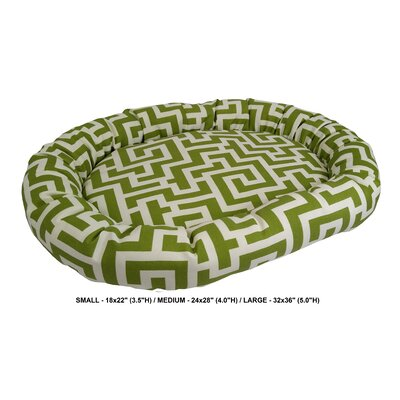 Corrine Keys Indoor/Outdoor Bolster Pet Bed Size: Large, Color: Kiwi