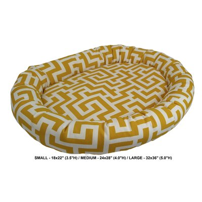 Keys Indoor/Outdoor Bolster Pet Bed Size: Medium, Color: Banana
