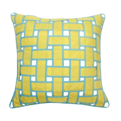 Basket Weave Outdoor Throw Pillow Color: Citron