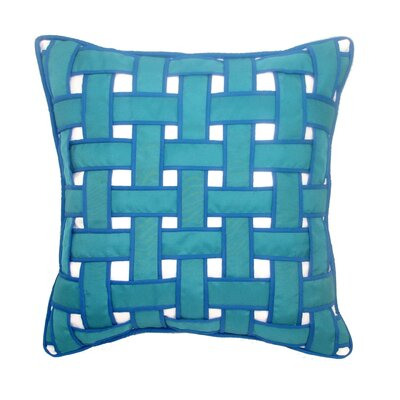 Basket Weave Outdoor Throw Pillow Color: Cool