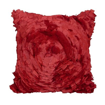 Cabbage Rose Throw Pillow Color: Red