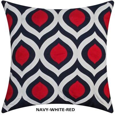 Cat Eye Indoor/Outdoor Throw Pillow Color: Navy/Red