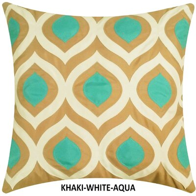 Cat Eye Indoor/Outdoor Throw Pillow Color: Khaki/Aqua