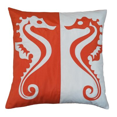 Twin Seahorses Indoor/Outdoor Throw Pillow Color: Pumpkin
