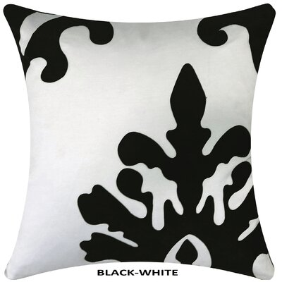 Damask Laser Throw Pillow Color: White/Black