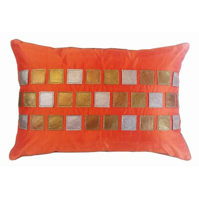 Metallic Tiles Lumbar Pillow Color: Orange