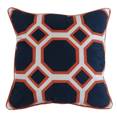 Honeycomb Indoor/Outdoor Throw Pillow Color: Navy/Pumpkin