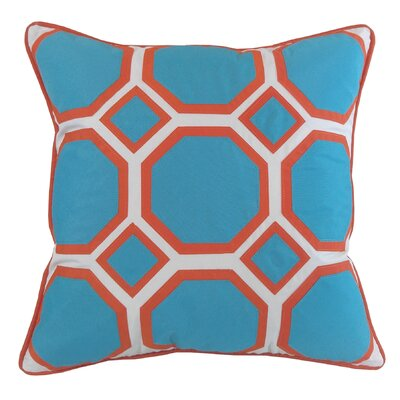 Honeycomb Indoor/Outdoor Throw Pillow Color: Aqua/Pumpkin