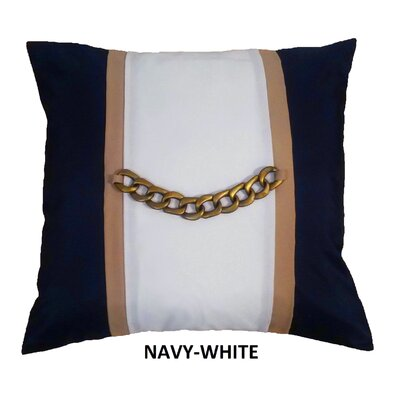 Chain Link Nautical Indoor/Outdoor Throw Pillow Color: Aqua/White