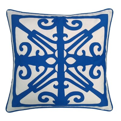 Indoor/Outdoor Throw Pillow Color: White/Royal Blue
