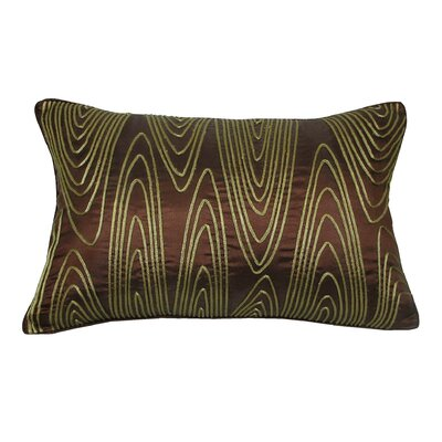 Faux Bois Cord Lumbar Pillow Color: Chocolate/Lagoon